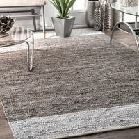 nuLoom Grey Leather and Cotton Handmade Flatweave Contemporary Rug (5' x 8')
