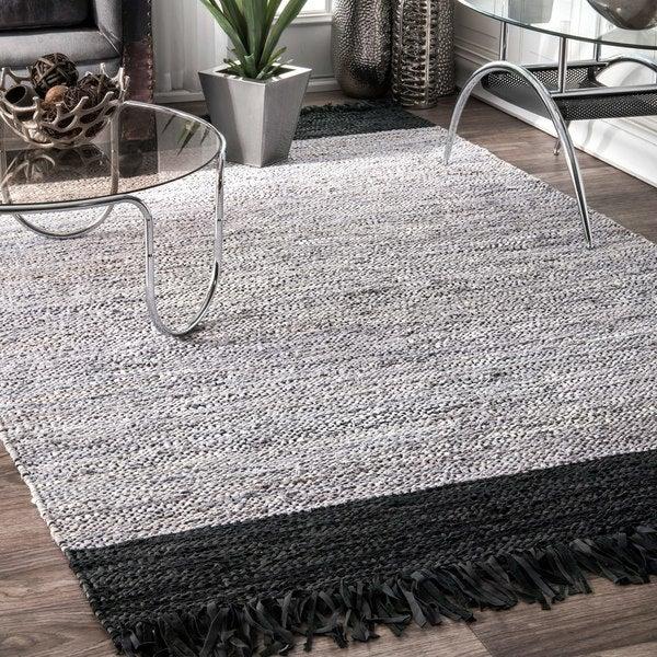 Black And White Tassel Rug: Shop NuLoom Silver/Black Leather/Cotton Handmade Flatweave