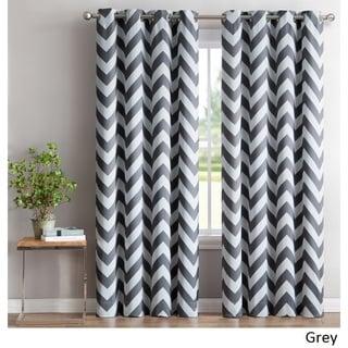 HLC.ME Chevron Print Blackout Grommet Curtain Panel Pair