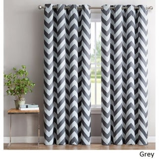 HLC.ME Chevron Print Blackout Grommet Curtain Panel Pair (More options available)