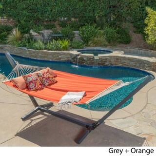 Aspen Outdoor Water Resistant Hammock with Grey Larch Wood Frame by Christopher Knight Home (Option: Orange)