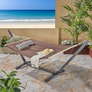 Aspen Outdoor Water Resistant Hammock with Grey Larch Wood Frame by Christopher Knight Home