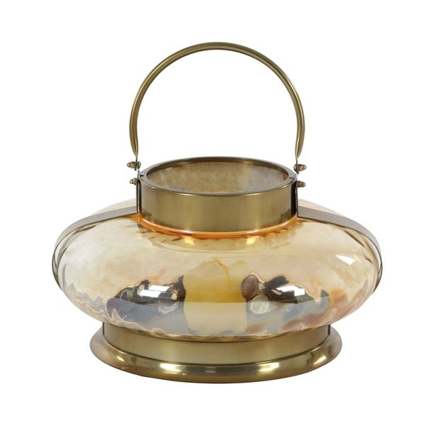 Studio 350 Stainless Steel Glass Lantern 15 inches wide, 14 inches high