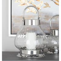 Studio 350 Stainless Steel Glass Lantern 10 inches wide, 14 inches high