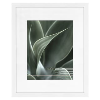 Modern White 16x20 Picture Frame matted for 11x14 Photo