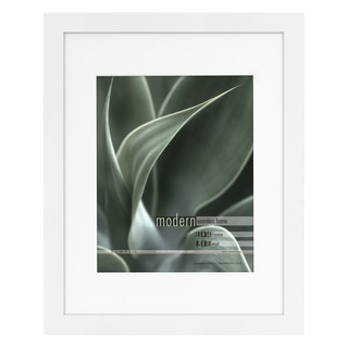 Modern White 11x14 Picture Frame matted for 8x10 Photo