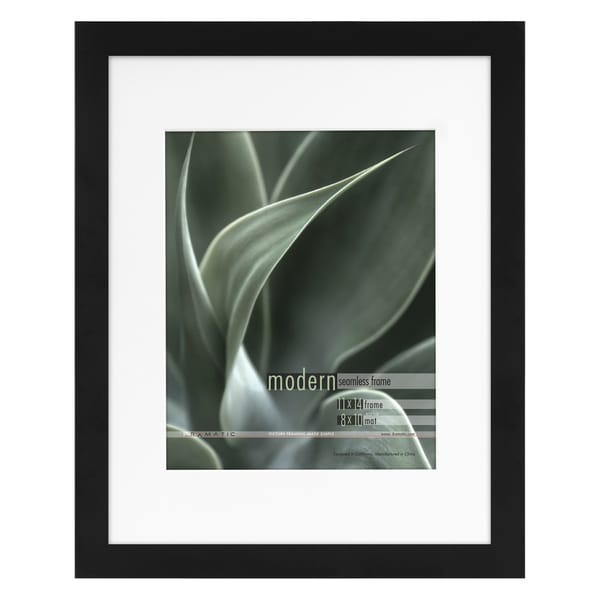 Shop Modern Black 11x14 Picture Frame Matted For 8x10 Photo Free