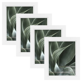 Modern White 8x10 Picture Frame with 8x10 Skinny Mat, Set of Four