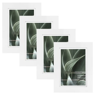 Modern White 5x7 Picture Frame with 5x7 Skinny Mat, Set of Four