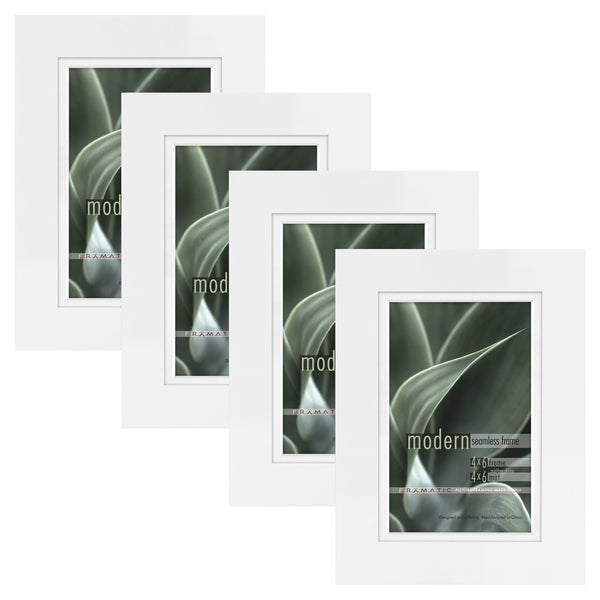 Modern White 4x6 Picture Frame with 4x6 Skinny Mat, Set of Four ...