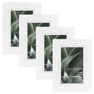 Modern White 4x6 Picture Frame with 4x6 Skinny Mat, Set of Four