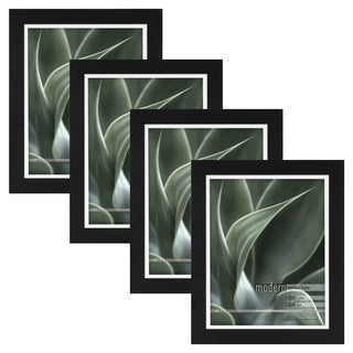 Modern Black 8x10 Picture Frame with 8x10 Skinny Mat, Set of Four