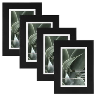 Modern Black 4x6 Picture Frame with 4x6 Skinny Mat, Set of Four