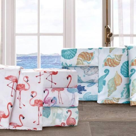 By the Seashore Microfiber Coastal Pattern Bed Sheet Set
