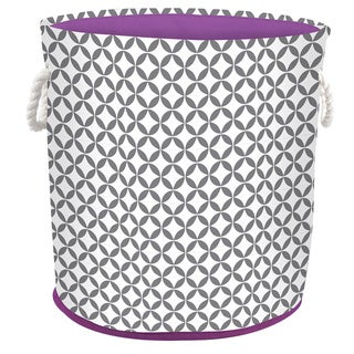 Round Hamper/Tote with Rope Handles - Heather Grey/White/Purple Trim