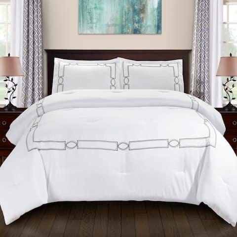 Modern Geometric Embroidery Comforter Set by Miranda Haus