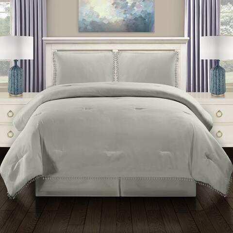 Miranda Haus All Season Down Alternative Pom-Pom Fringe Comforter Set