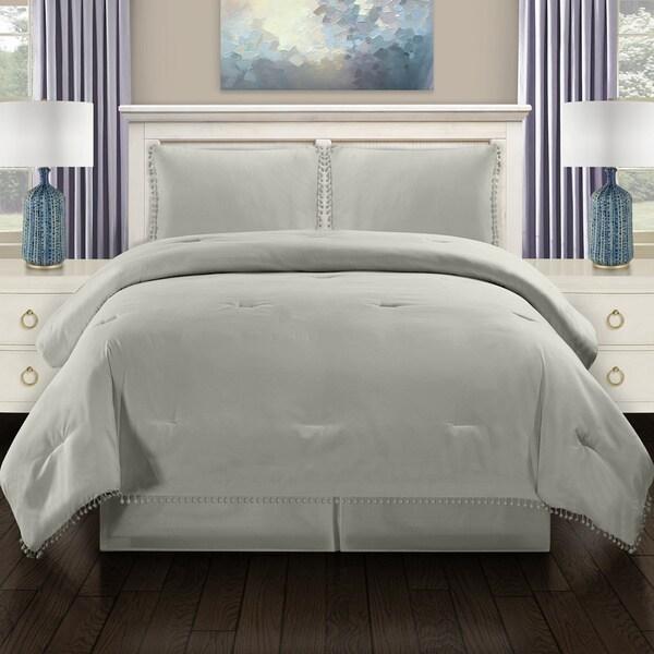 Superior All Season Down Alternative Pom-Pom Fringe Comforter Set