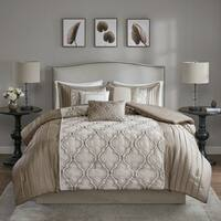 Madison Park Chrystal Taupe 7-piece Pieced Embroidered Comforter Set