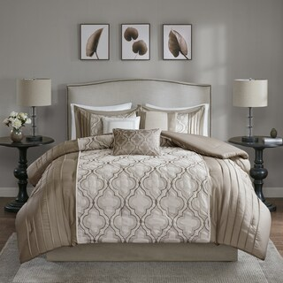 Madison Park Chrystal Taupe 7-piece Pieced Embroidered Comforter Set (2 options available)