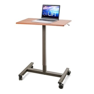 AIRLIFT 24.4 in Maple Laptop Mobile Desk Cart With Adjustable Height Range 29.3 in to 43.5 in