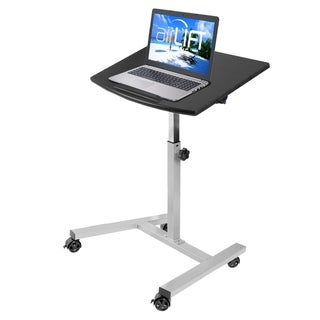 AIRLIFT Tilting Mobile Laptop Computer Desk Cart With Stopper Ledge Adjustable Height Range 23.6 in to 36.4 in
