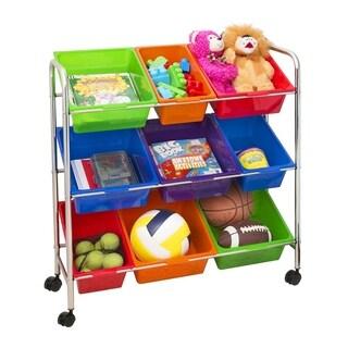 Seville Classics Mobile Toy Storage Organizer, 9-Bins, Multi-Color