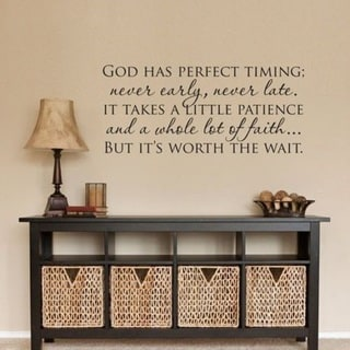 """GOD HAS PERFECT TIMING Christian Wall Decal Vinyl Words Lettering Decor 40""""x24"""""""