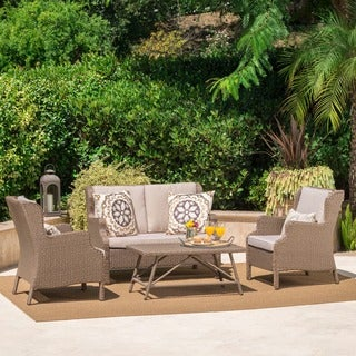 Lanai Outdoor 4-piece Wicker Chat Set with Cushions by Christopher Knight Home