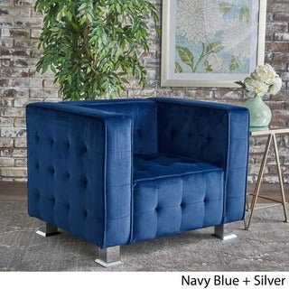 Boden Tufted Modern Deco Velvet Armchair by Christopher Knight Home (Arm Chairs/Club Chairs - Navy Blue - Fabric/Wood - Modern &