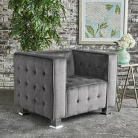 Boden Tufted Modern Deco Velvet Armchair by Christopher Knight Home