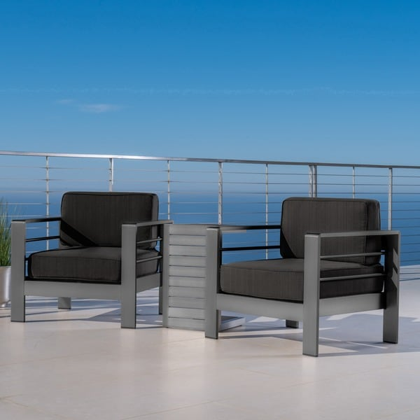 Shop Cape Coral Outdoor Aluminum 3 Piece Chat Set With