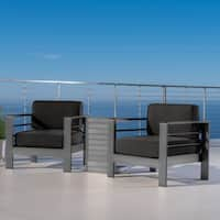 Cape Coral Outdoor Aluminum 3-piece Chat Set with Cushions by Christopher Knight Home