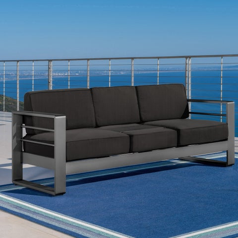 Cape Coral Outdoor Aluminum Sofa Couch with Cushions by Christopher Knight Home