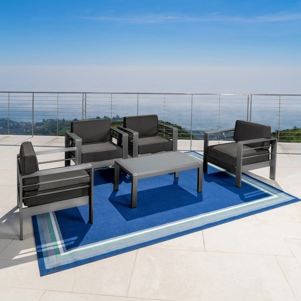 shop cape coral outdoor aluminum 5-piece chat set with cushions by christopher knight home
