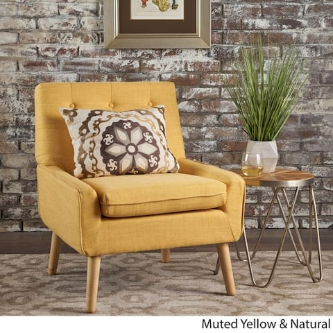 Eilidh Buttoned Mid Century Modern Tufted Fabric Club Chair by Christopher Knight Home