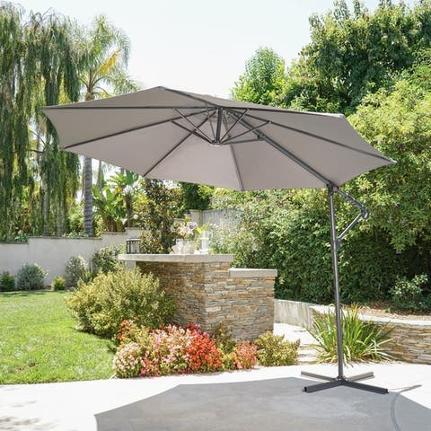 Stanley Outdoor 9.5-foot Steel Canopy Umbrella by Christopher Knight Home, Base Included