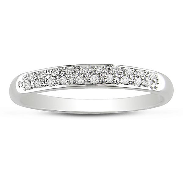 Miadora 14k White Gold 1/10ct Diamond Anniversary Band