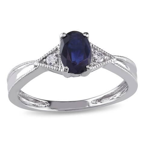 Miadora 14k White Gold Diamond and Blue Sapphire Ring