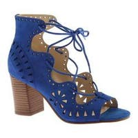 Women's Nine West Gweniah Ghillie Lace Up Sandal Blue Suede