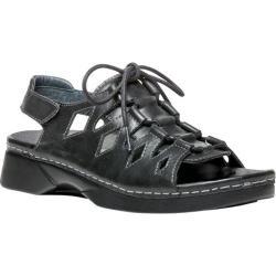 Women's Propet Ghillie Walker Slingback Sandal Black Full Grain Leather