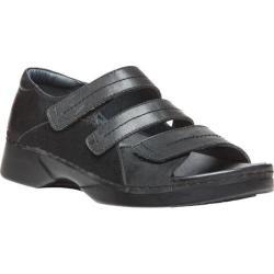 Women's Propet Vita Walker Adjustable Strap Open Toe Shoe Black Full Grain Leather