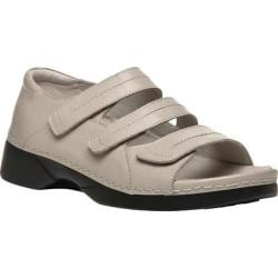 Women's Propet Vita Walker Adjustable Strap Open Toe Shoe Bone Full Grain Leather