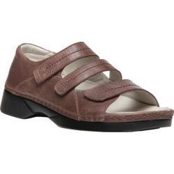 Women's Propet Vita Walker Adjustable Strap Open Toe Shoe Brown Full Grain Leather