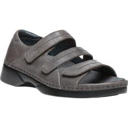 Women's Propet Vita Walker Adjustable Strap Open Toe Shoe Grey Full Grain Leather