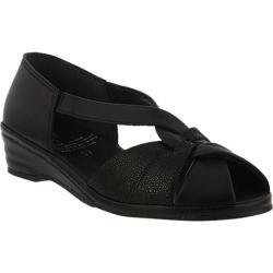 Women's Spring Step Jasna Peep Toe Sandal Black Leather