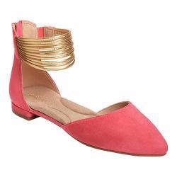 Women's Aerosoles Girl Talk Ankle Strap D'Orsay Flat Dark Pink Combo Faux Suede/Faux Leather
