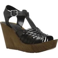 Women's Kenneth Cole Reaction Capellini Platform Wedge Sandal Black Leather