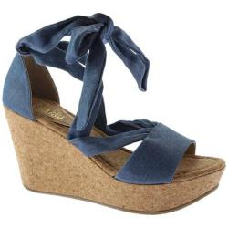 Women's Kenneth Cole Reaction Sole Rise Platform Wedge Sandal Blue Denim