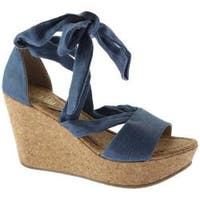 Women's Kenneth Cole Reaction Sole Rise Platform Wedge Sandal Blue Denim